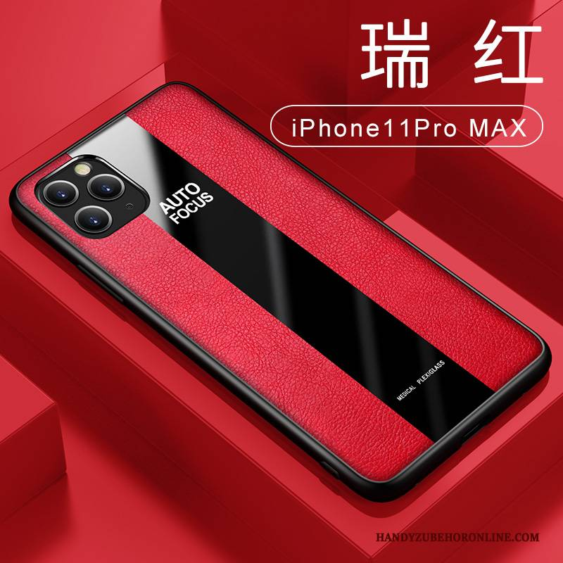Hülle iPhone 11 Pro Max Taschen Ring Business, Case iPhone 11 Pro Max Lederhülle Rot Anti-sturz