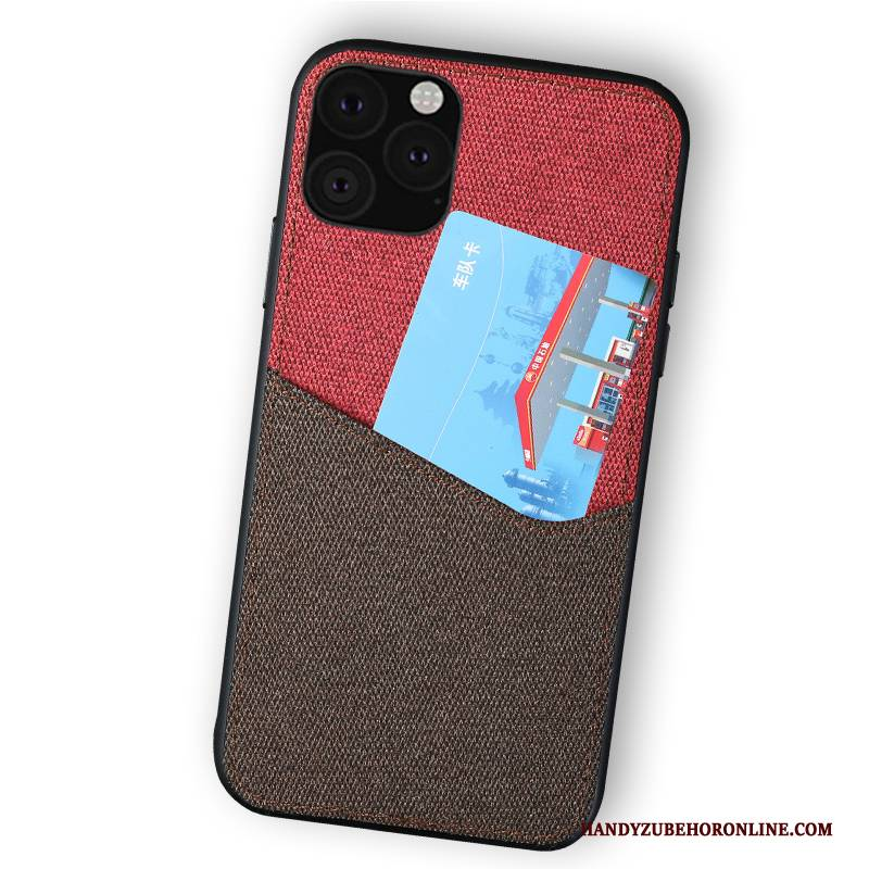 Hülle iPhone 11 Pro Rot Stoff, Case iPhone 11 Pro Leinwand Business