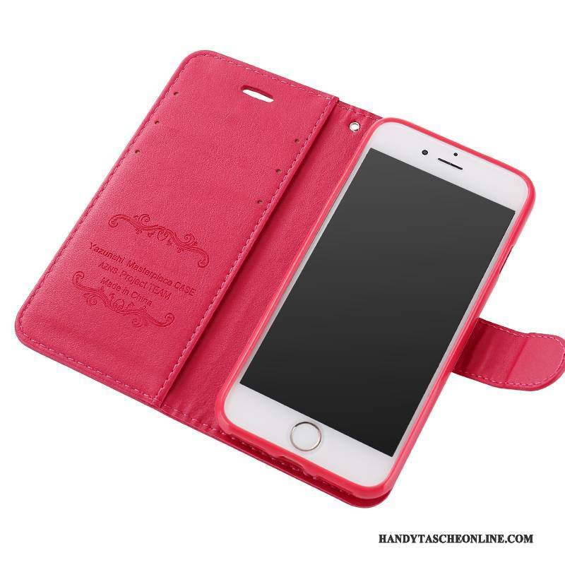 Hülle iPhone 8 Plus Folio Rot Handyhüllen, Case iPhone 8 Plus Lederhülle Anti-sturz