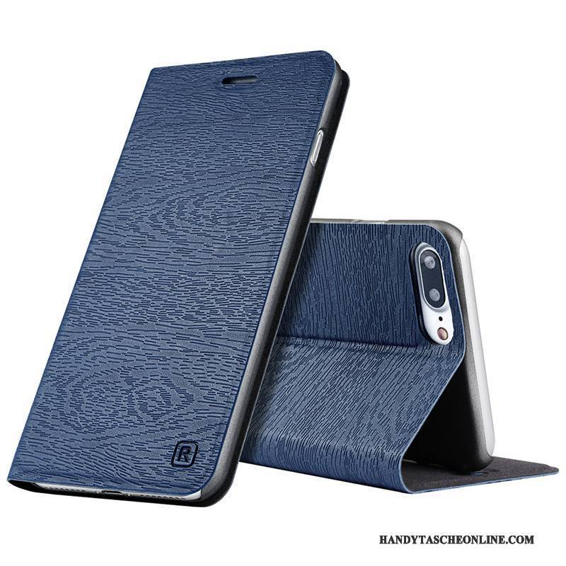 Hülle iPhone 8 Plus Lederhülle Handyhüllen Trend, Case iPhone 8 Plus Folio Blau Anti-sturz