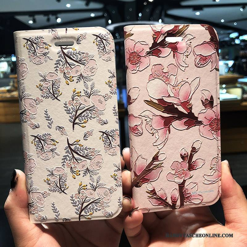 Hülle iPhone 8 Plus Schutz Handyhüllen Rosa, Case iPhone 8 Plus Lederhülle