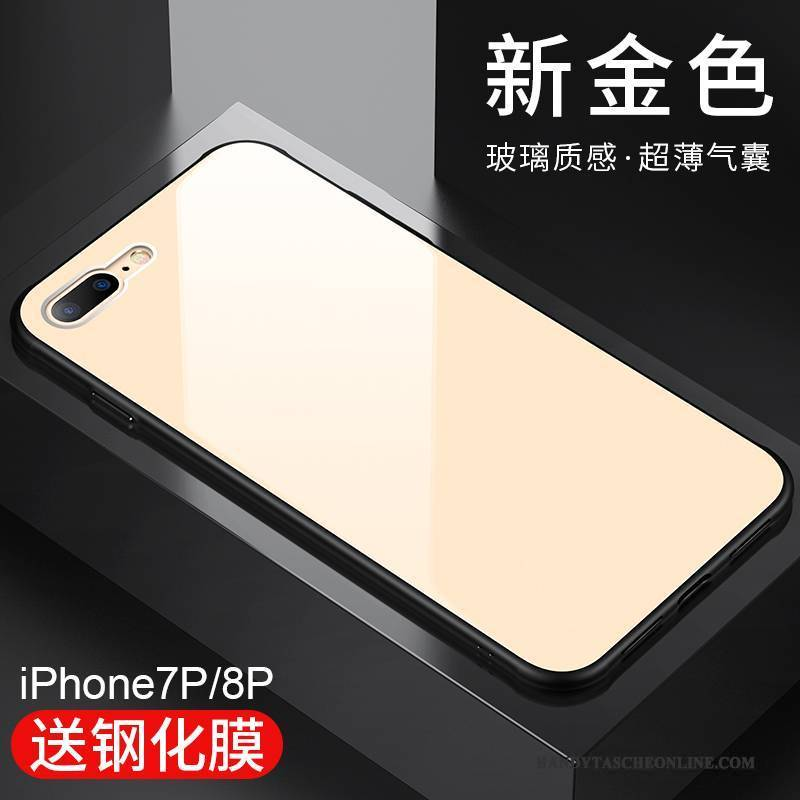 Hülle iPhone 8 Plus Silikon Schwer Anti-sturz, Case iPhone 8 Plus Pu Glas