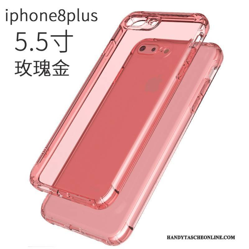 Hülle iPhone 8 Plus Taschen Transparent Anti-sturz, Case iPhone 8 Plus Weiche Ballon Rosa