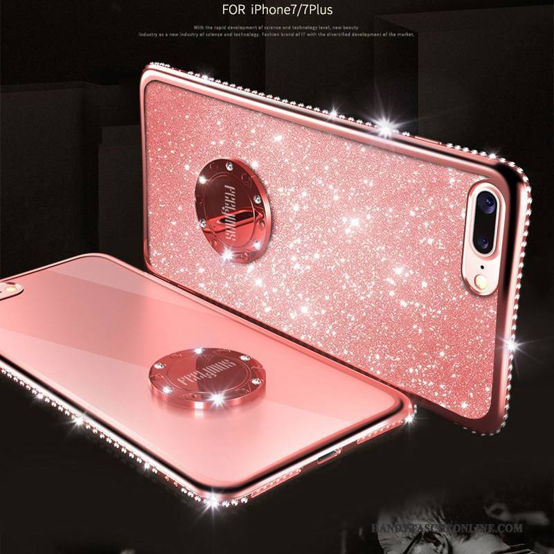 Hülle iPhone 8 Strass Grün Gold, Case iPhone 8 Rot Rosa