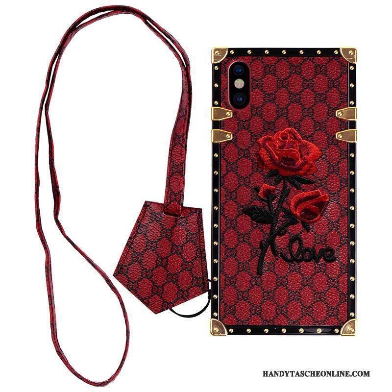 Hülle iPhone X Taschen Stickerei Netto Rot, Case iPhone X Weiche Trendmarke Anti-sturz